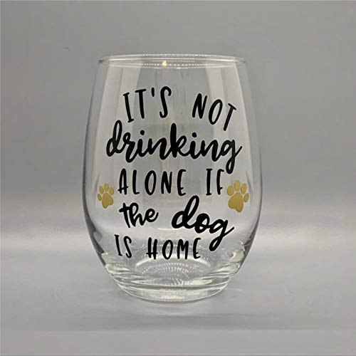 Vaso de vino sin tallo, con texto en inglés