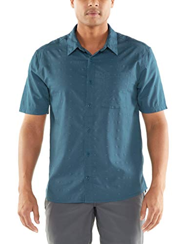 icebreaker Herren Merino Compass Short Sleeve Shirt, Herren, Compass Short Sleeve Shirt, Thunder/Timberwolf/Dobby, Small