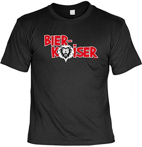 T-Shirt für Trinker - Bier Kaiser - lustiges Sprüche-Shirt zum Thema Alkohol als witzige Geschenk-Idee - Schwarz, Größe:4XL
