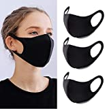 YMHPRIDE 3 Packs Anti Poussière Masque Bouche Visage Mode Masque Noir Masques Lavables et Réutilisables pour Femmes et Hommes