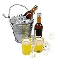 shama 1/121/6プラスチックワインボトル+カップ+アイスバケットセットドリンクドールハウスACC - 褐色