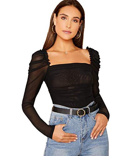 Floerns Women's Mesh Sheer Tops Square Neck Puff Sleeve Tee T-Shirt A Black XS