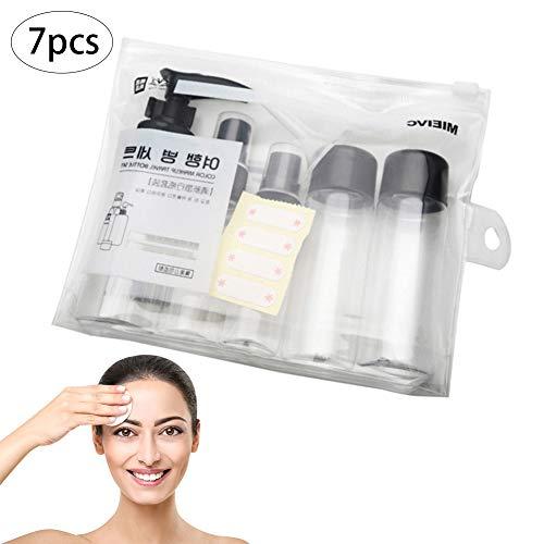 Beito Lot de 7 bouteilles en plastique rechargeables pour cosmétiques et cosmétiques Transparent