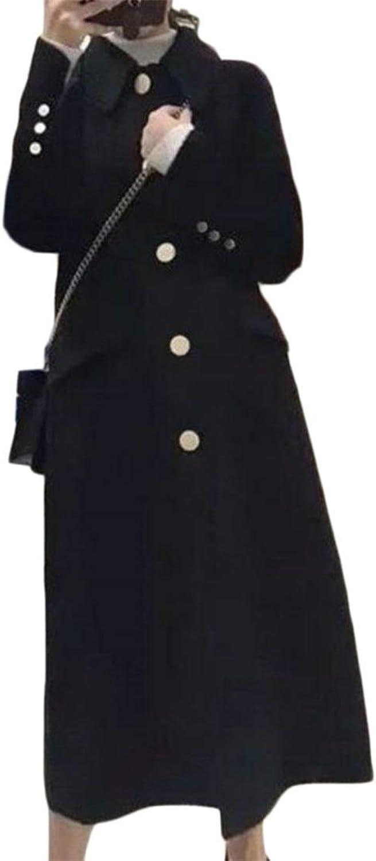 JSYCA Womens Lapel Single Breasted Outside Wool Blended Pea Coat