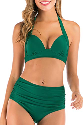 Swimsuit Cover Up for Women Plus Size Ruched High Waist Bikini Bathing Suit Tops (Green,Large)