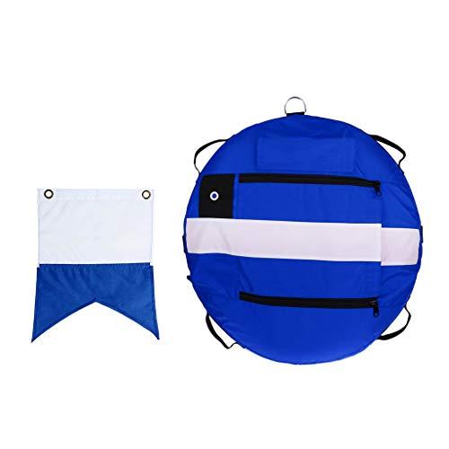 perfeclan Marcador de Superficie de Apnea Profesional Boya Flotador Flotante de Agua + Bandera de Buzo - Azul