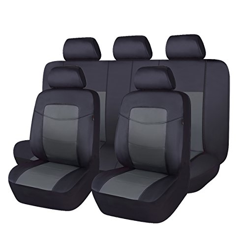 Flying Banner Classic Black Leatherette Car Seat Covers Universal Full Set...