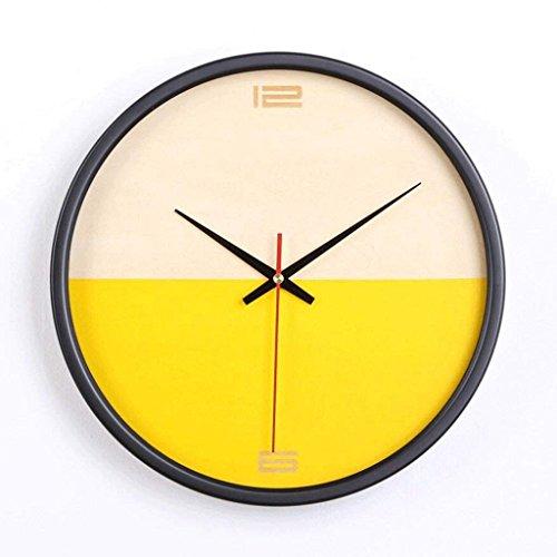 FFCVTDXIA Dormitorio de Reloj Sala de Estar Creativa Pared de Madera Circular Mute Pared Moda/Naranja zhihao (Size : Yellow)