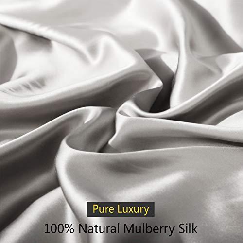 ZIMASILK 4 Pcs 100% Mulberry Silk Bed Sheet Set ,All Side 19 Momme Silk (Queen, Dark Grey)