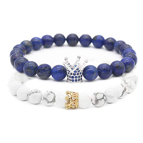 POSHFEEL 8mm Natural Stone CZ Micro Pave Crown King Queen Beads His and Hers Couple Bracelet, Blue Lapis & Howlite, 7.5'