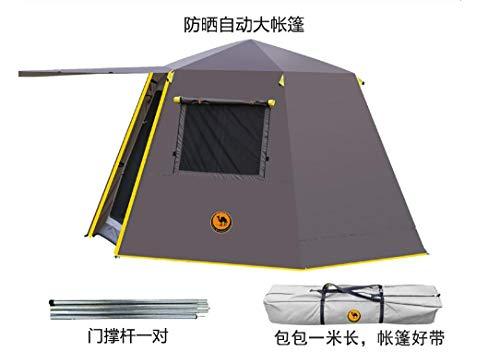 ASADVE Heckzelt Campingzelt Auto Zelt Zelt Im Freien 3-4 Personen Doppelte Verdickung Regensicher Camping Familie Aluminium Pole Camping Mehrpersonen-Automatikzelt-Braun