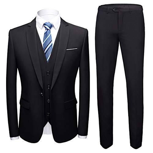 MY'S Men's 3 Piece Slim Fit Suit, One Button Jacket Blazer Vest Pants Set and Tie, Black, S?5'7-5'10?140-160lbs