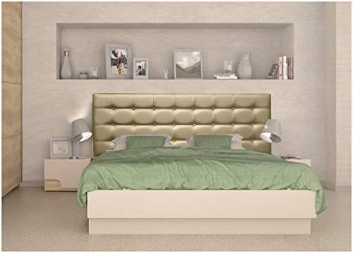 ONEK-DECCO Cabecero Mod. Kansas con Botones tapizado en Polipiel Acolchado de Dormitorio Medidas Cabezal de Cama niño, Juvenil y Matrimonio (150x70, Negro)
