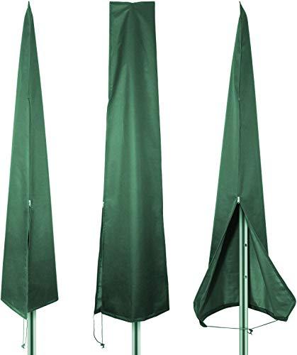 PATIO PLUS - Funda impermeable para sombrilla de jardín, extra grande, 190 x 25/50 cm, con cremallera para hasta 3 m, tela Oxford 600D resistente al desgarro, color verde