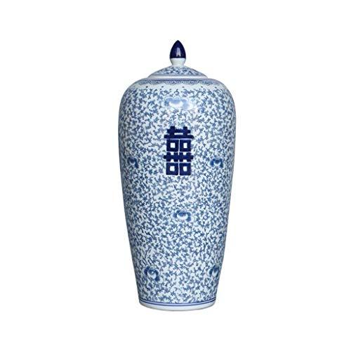 Vaso in porcellana Vaso floreale in porcellana blu e bianco Vaso, scatola del contenitore di zucchero, contenitore di zucchero, contenitore di tè, doppia felicità, lavorato a mano (taglia: piccolo) (d