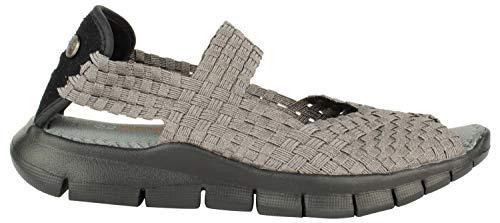 B M BERNIE MEV NEW YORK Women's Juliet Open Toe Sandalen mit stylish Cut-Outs - Juliet ist ein flacher Sportschuh mit Memory-Foam-Fußbett und in der Regel ultraleicht., - Gunmetal - Größe: 39 EU
