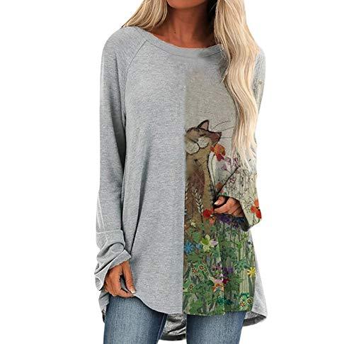 SLYZ Printemps Femmes Nouveau Style Lâche Impression De Mode A-Line Chemisier T-Shirt à Manches Longues