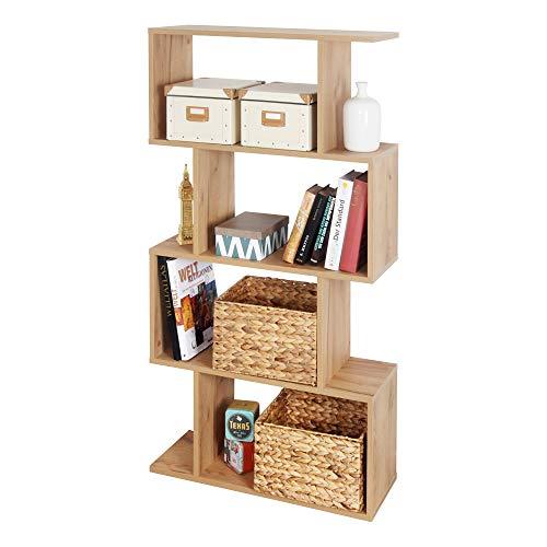 RICOO WM071-EG Estantería 129 x 70 x 25 cm Estante Librería Moderna Biblioteca Muebles de hogar Mueble almacenaje 4 Niveles Color Madera Roble marrón