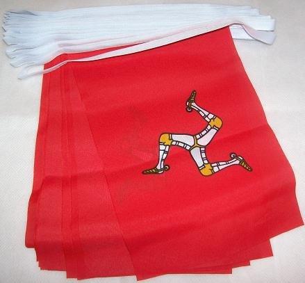 AZ FLAG Guirnalda 6 Metros 20 Banderas de la Isla DE Man 21x15cm - Bandera MANÉS 15 x 21 cm - BANDERINES