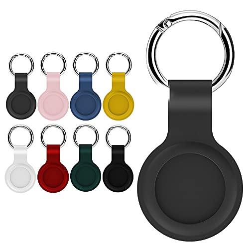 Hainice di Protezione della Pelle in Silicone Compatibile con la Copertura di Caso Airtags Tracker Bluetooth Copertura Airtags Accessori con Portachiavi Grey Materiale di Cuoio