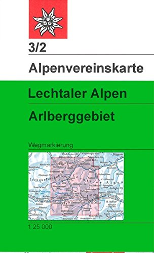 Lechtaler Alpen - Arlberggebiet: Wegmarkierungen - Topographische Karte 1:25.000 (Alpenvereinskarten)