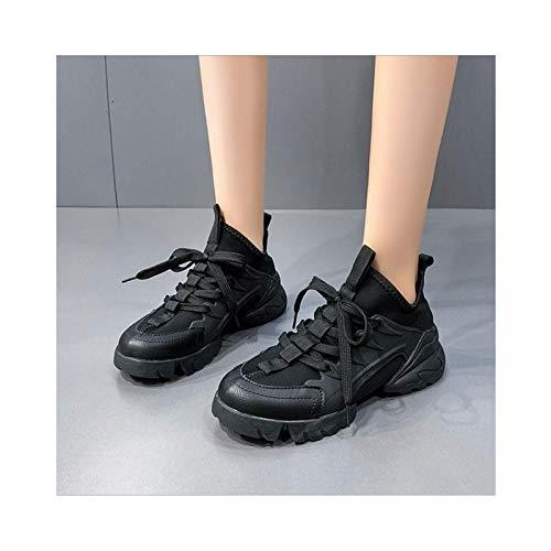HaoLin Zapatos para Caminar con Aumento de Altura para Mujer, Plataforma de Cuña con Plataforma de Cuña,Black-40 EU