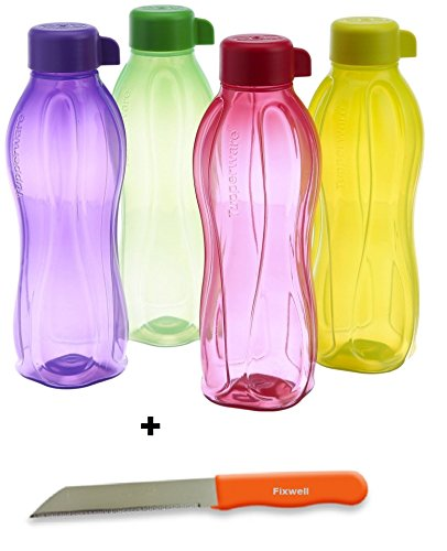 TUPPERWARE Eco Sport 1Liter AQUA SAFE Wasser Flasche (Set 4) gratis Fixwell Messer