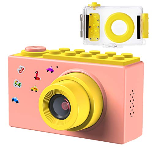FISHOAKY Kamera Kinder, Wasserdicht Digitale Kamera Kinder, Digitalkamera Videokamera Fotoapparat Kinder Full HD 1080P / 8MP / 4X Digitaler Zoom / 2 Zoll LCD Bildschirm / 256M TF Karte (Rosa)
