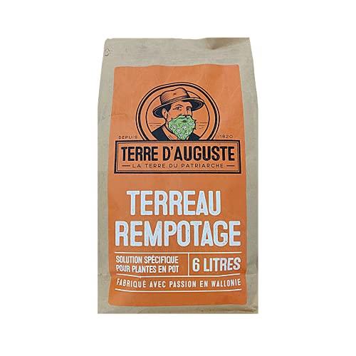 TERRE D'AUGUSTE - Terreau Rempotage 6L avec Fermeture Eclair Refermable - Solution Spécifique pour...
