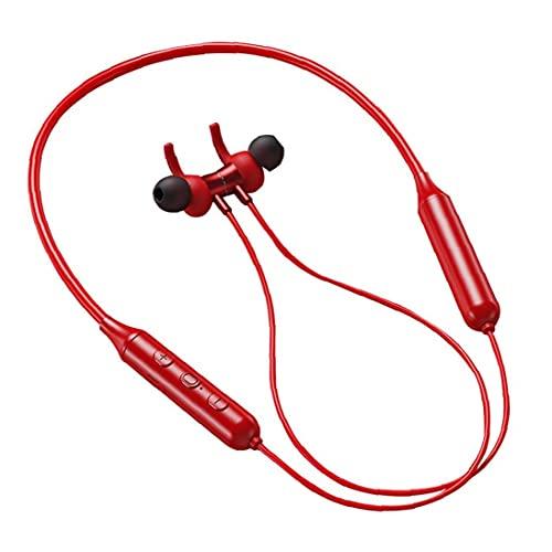 YepYes Auriculares Bluetooth para Auriculares Banda para el Cuello Wirelesss Sport Auriculares TWS DD9 Ejecución de Reducción de Ruido Impermeable Auricular para Entrenamiento Rojo