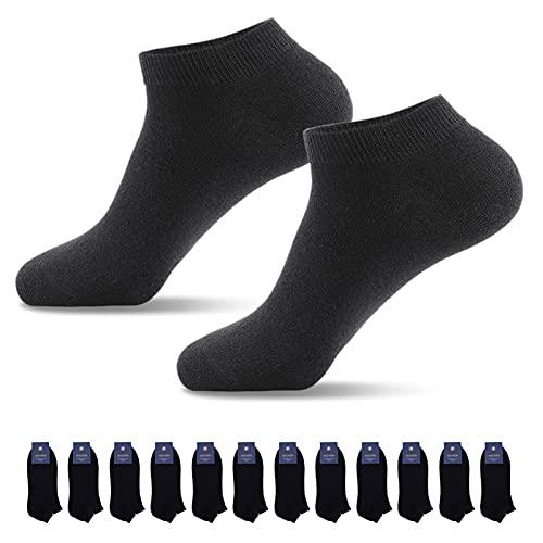 Lowbangge Sneaker Socken Herren Damen 12 Paar Sportsocken Halbsocken Kurze Baumwolle(Schwarz,43-46
