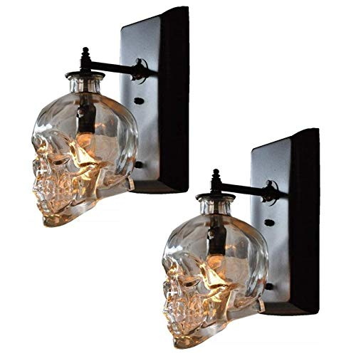 Auccy Innen LED Wandleuchte E14 Vintage Totenkopf Wandlampe, Transparent Glas Schatten Schwarz Base Schädel Wandlampen für Bar, Halloween, Party Retro Loft Dekorative Beleuchtung lampe, 2 Stück