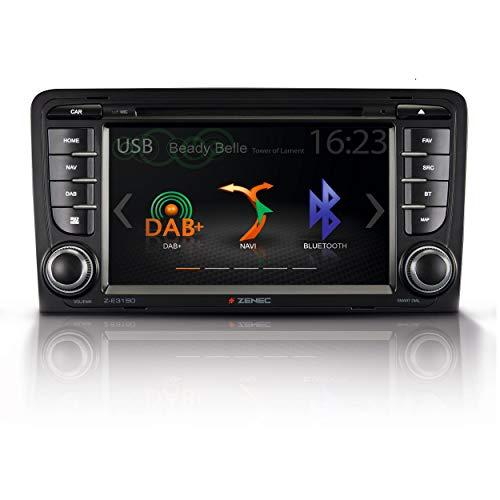 """ZENEC Z-E3150: Infotainer, 2-Din Mediencenter für Audi A3, Multimedia mit 7""""/17,8 cm Touchscreen, Autoradio mit DAB+, CD/DVD, Bluetooth, zum Festeinbau Navi erweiterbar"""