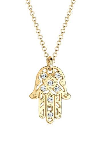 Elli Halskette Damen Hamsa Hand Boho mit Kristalle in 925 Sterling Silber