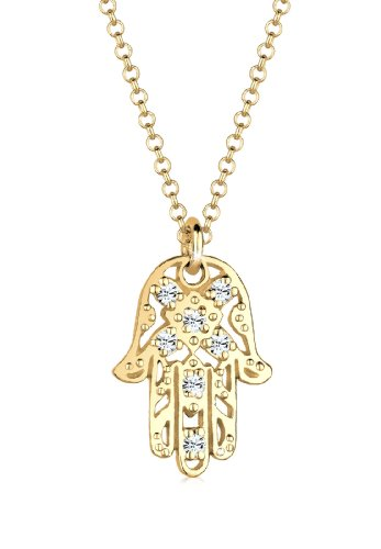 Elli Necklace Hamsa Hand with Crystals in 925 Sterling Silver