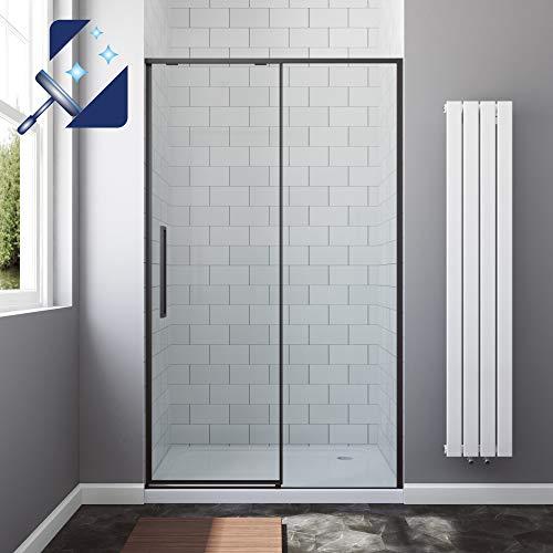 AQUABATOS® Schiebetür Dusche 120 cm breite 195 cm höhe SlimLine Design schwarz matt Black Style Duschtür Gleittür in Nische Nischentür Duschwand Glas Duschabtrennung 8 mm Klarglas mit Nanobeschichtung