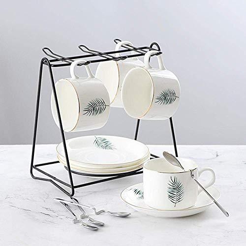 Tcbz Juego de Espresso Juego de té Continental para el hogar Juego de Taza de café Blanca Juego de 4 Piezas con Soporte 150ml