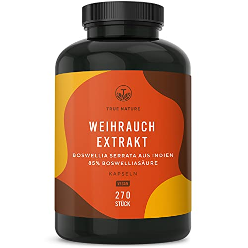 TRUE NATURE® Weihrauch Extrakt (Indischer Boswellia Serrata) - 270 Kapseln à 500mg (85{86522132d63a275fc4ee1bb126ac4d83674b46bdd79dfb7ab53d0f8adfadf53f} Boswelliasäure) - Hochdosiert: 1500mg pro Tagesdosis - Weihrauchkapseln Vegan, Laborgeprüft, Deutsche Produktion
