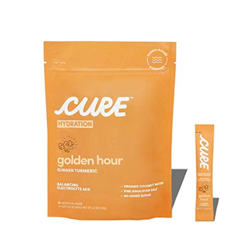 Cure Hydration Mix   Organic Electrolyte Powder   No Added Sugar   Made with Coconut Water   Pack of 14 (Ginger Turmeric)