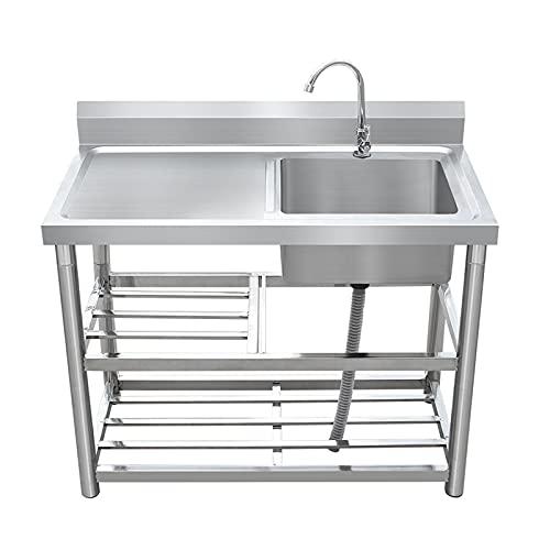 PWQ Fregadero Cocina un Seno con Escurridor, 1 Compartimento con Mesa de Trabajo, para Lavandería de Cocina de Garaje Interior al Aire Libre