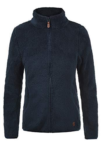 DESIRES Telsa Damen Fleecejacke Teddyfleece Zip-Jacke Sweatjacke Mit Stehkragen Und Taschen, Größe:XS, Farbe:Insignia Blue (1991)