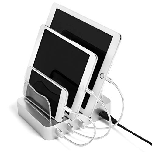 Silkronix 4 USB Port Charging Station Dock - Smart & Fast Desktop Multi Device Charger & Organizer - Android Mobile, Cell Phone, iPhone, iPad & Tablet Compatible - Led Lighted Charge Status Indicator