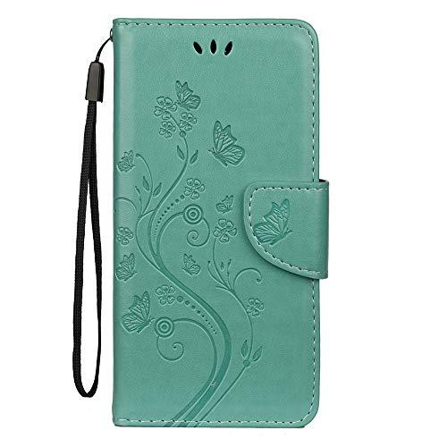 Sunrive Hülle Für BQ Aquaris X2/X2 Pro, Magnetisch Schaltfläche Ledertasche Schutzhülle Hülle Handyhülle Schalen Handy Tasche Lederhülle(Prägung Grün s) MEHRWEG