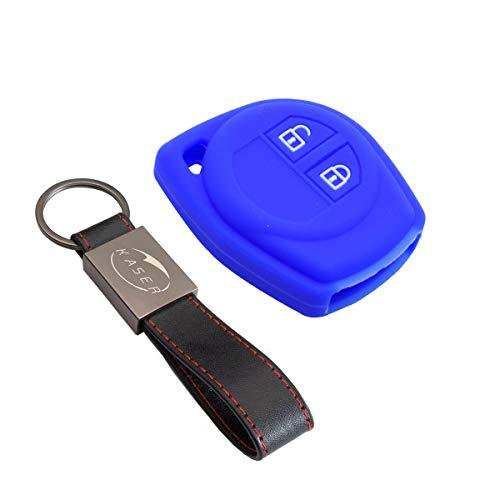 Housse étui en Silicone pour Clé Suzuki – Coque Cover Porte-Clés pour Suzuki Alto Baleno Grand Vitara Ignis Jimny Karimun Wagon Protection Télécommande Voiture (Bleu)