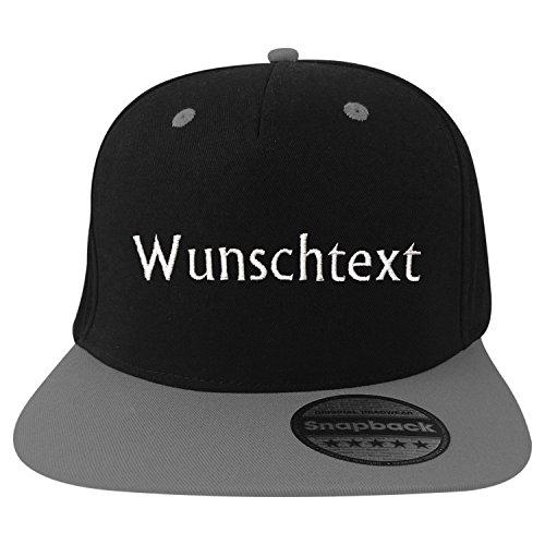 Basecap Snapback 5-Panel mit Wunschtext/Wunschname/Name Bestickt oder Bedruckt (Kopf Schwarz/Schirm Grau)