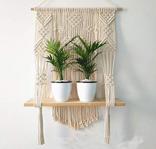 PartyStuff Wall Pot Planter Hanging Wooden Shelf Cotton Macrame Handmade for Multiple Plant Pots, Decorative Items, Wall Hager for Home Decor, Lobby (Pack of 1)