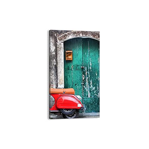 Quadro su tela - Elemento unico - Scooter trasporto italia retro - 45x80cm - Pronto da appendere - Home Decor - Stampe su Tela - Quadri Moderni - completamente incorniciato - PA45x80-2571