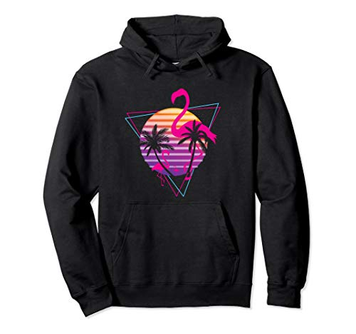 Adults 80's Vaporwave Hoodie with Flamingo, Palms and Sunset, 5 Colors, S to 2XL