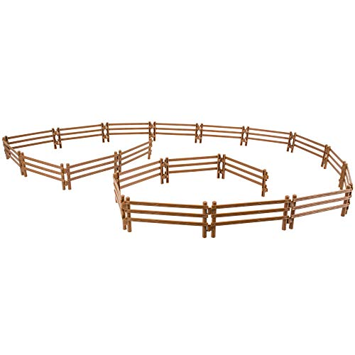 Toymany 20PCS Horse Corral Fencing Accessories Playset  Plastic Fence Toys for Farm Barn Paddock Horse Stable or Farm Animals Horses Figurines  Educational Gift Cake Toppers for Kids Toddler