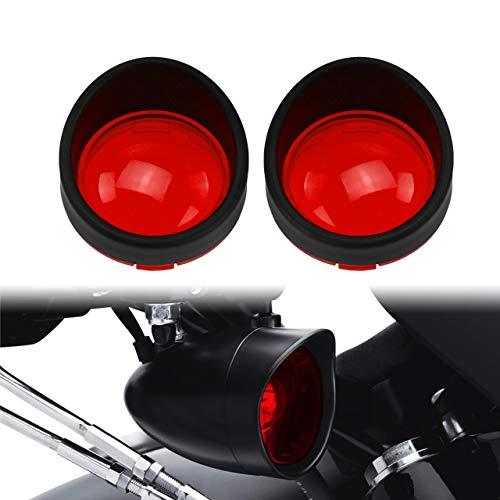 YHMTIVTU Bullet Turn Signal Visors Lights Lens Covers for Harley Dyna Softail Sportster,Black Ring Red Lens,2 pcs